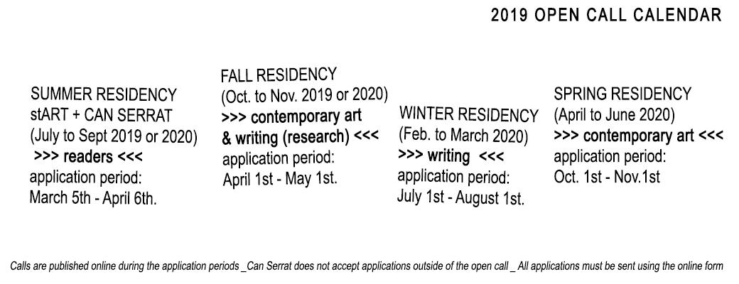 open call calendar 2019